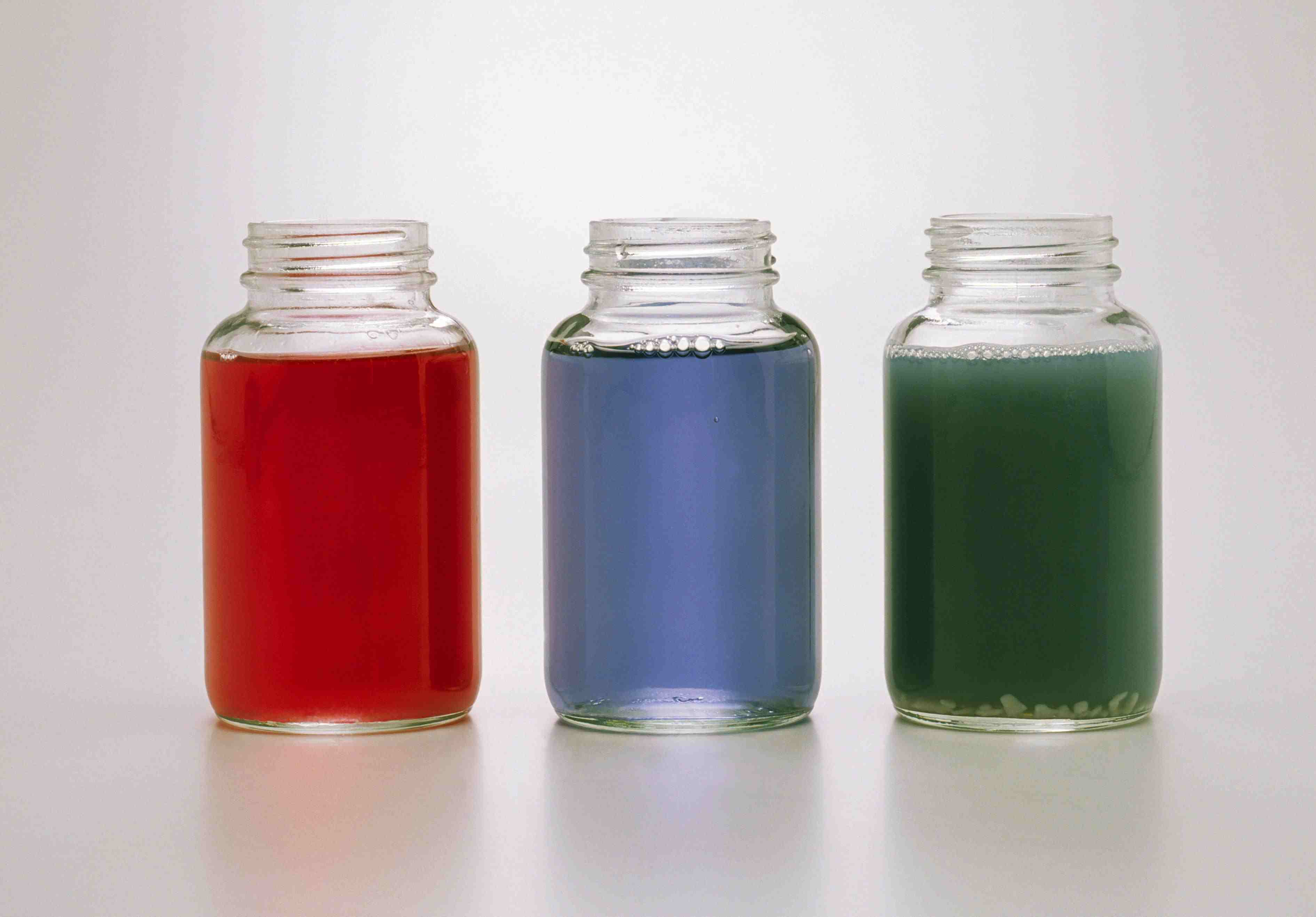 These are red cabbage juice color changes at different pH values.