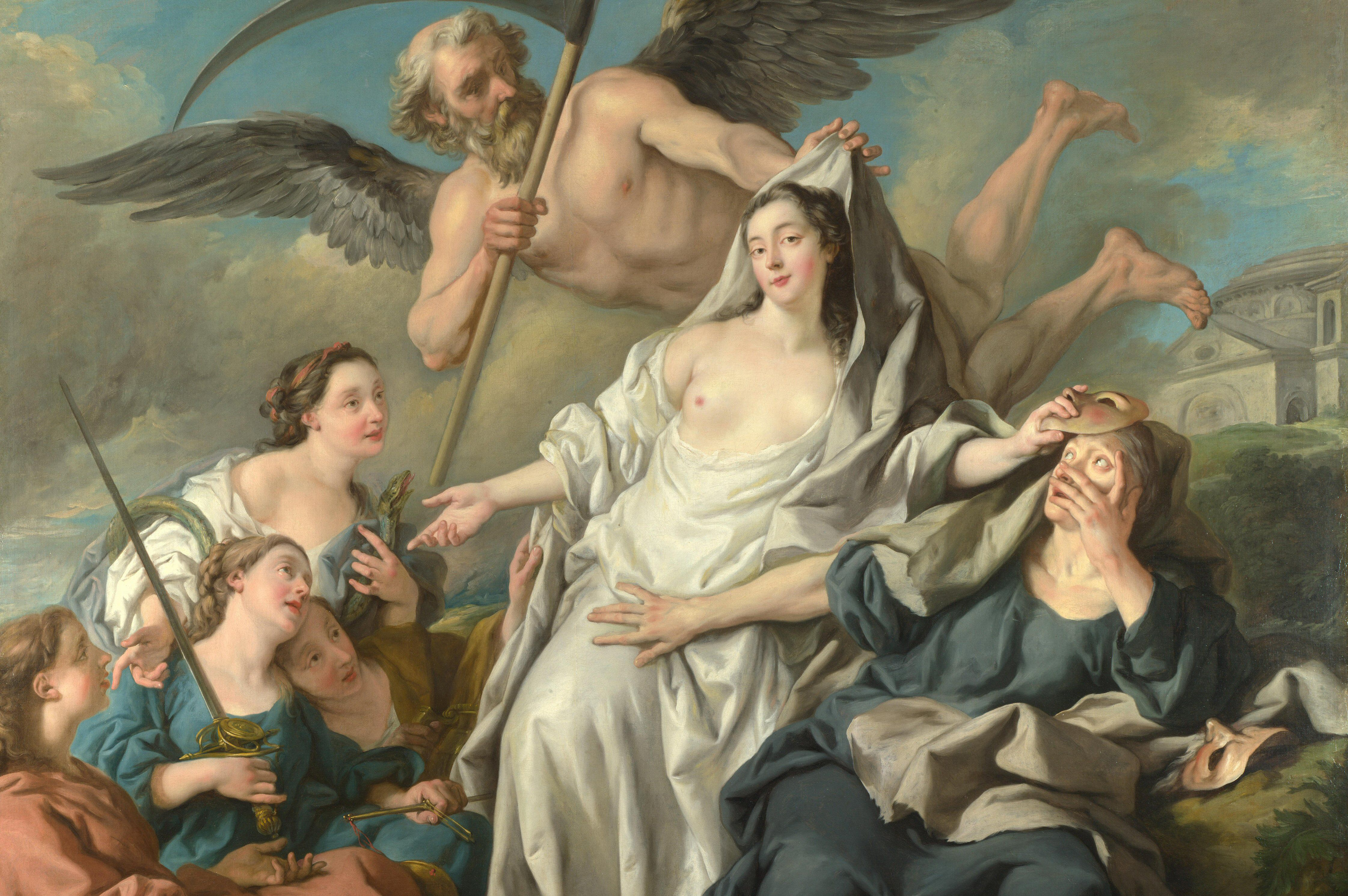 Winged man pulling a robe from a beautiful woman sitting between a masked woman and 4 adoring women of faith