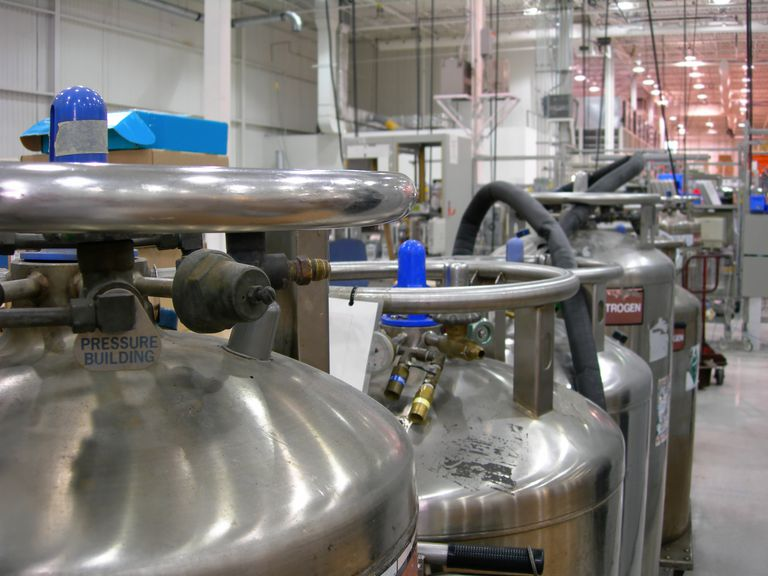 Multiple Industrial Nitrogen Tanks inside an industry