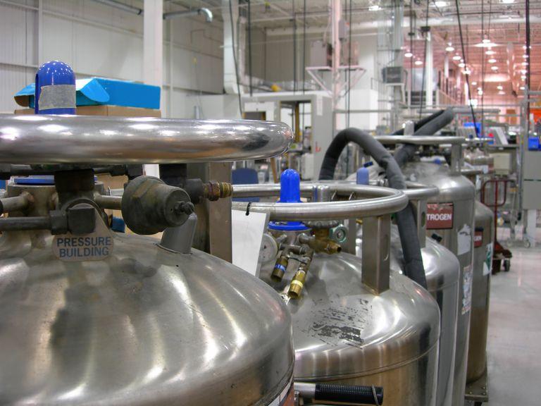 Multiple Industrial Nitrogen Tanks inside an industry