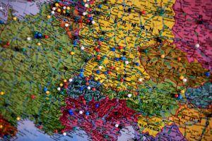 An Europe map at Shamrock, Texas, USA