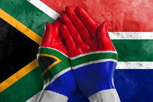 Flag of South Africa Painted on Two Hands