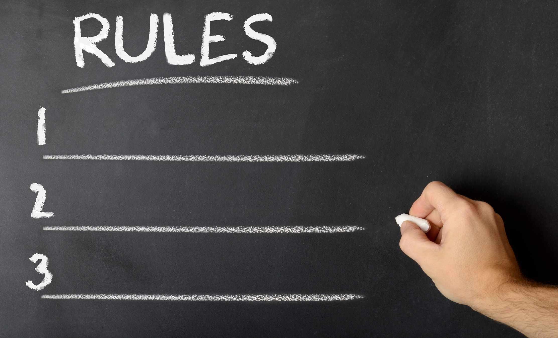 teaching writing rules on chalkboard