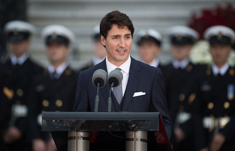 Justin Trudeau, Canadian Prime Minister gives a speech