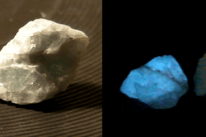 thermoluminescence of fluorite specimens emitting light after being heated.