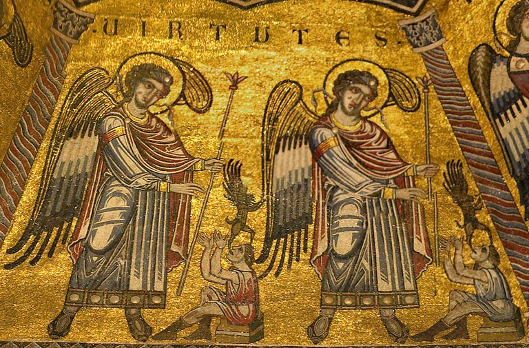 Virtue angels on the mosaic ceiling of the Baptistery