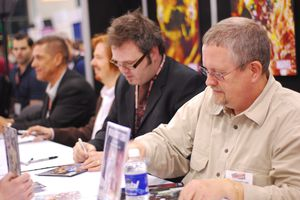 Orson Scott Card at the 2008 Comic-Con's autograph table.