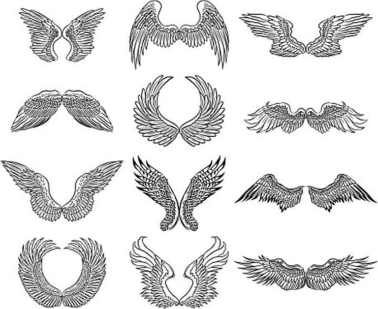 Drawings of angel wings