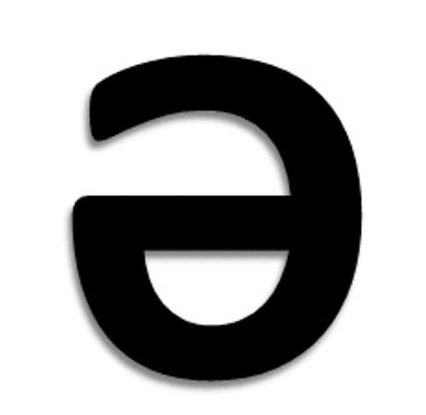 The Schwa, represented by an upside-down letter e