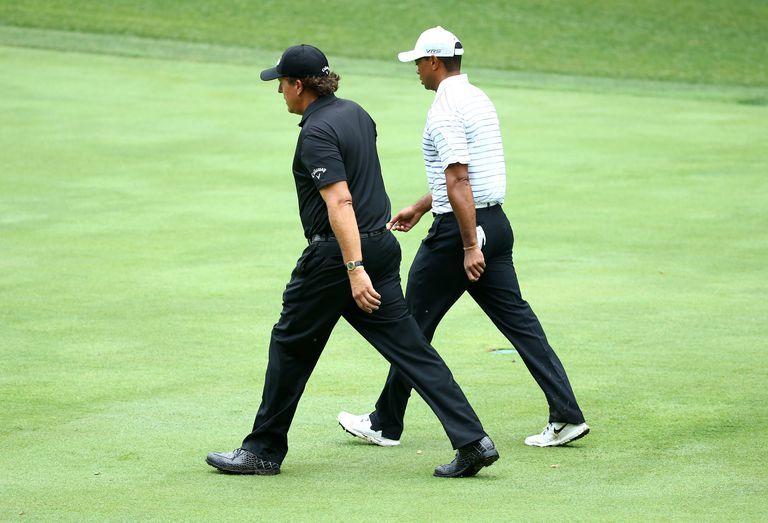 Phil Mickelson and Tiger Woods paired together during a golf tournament