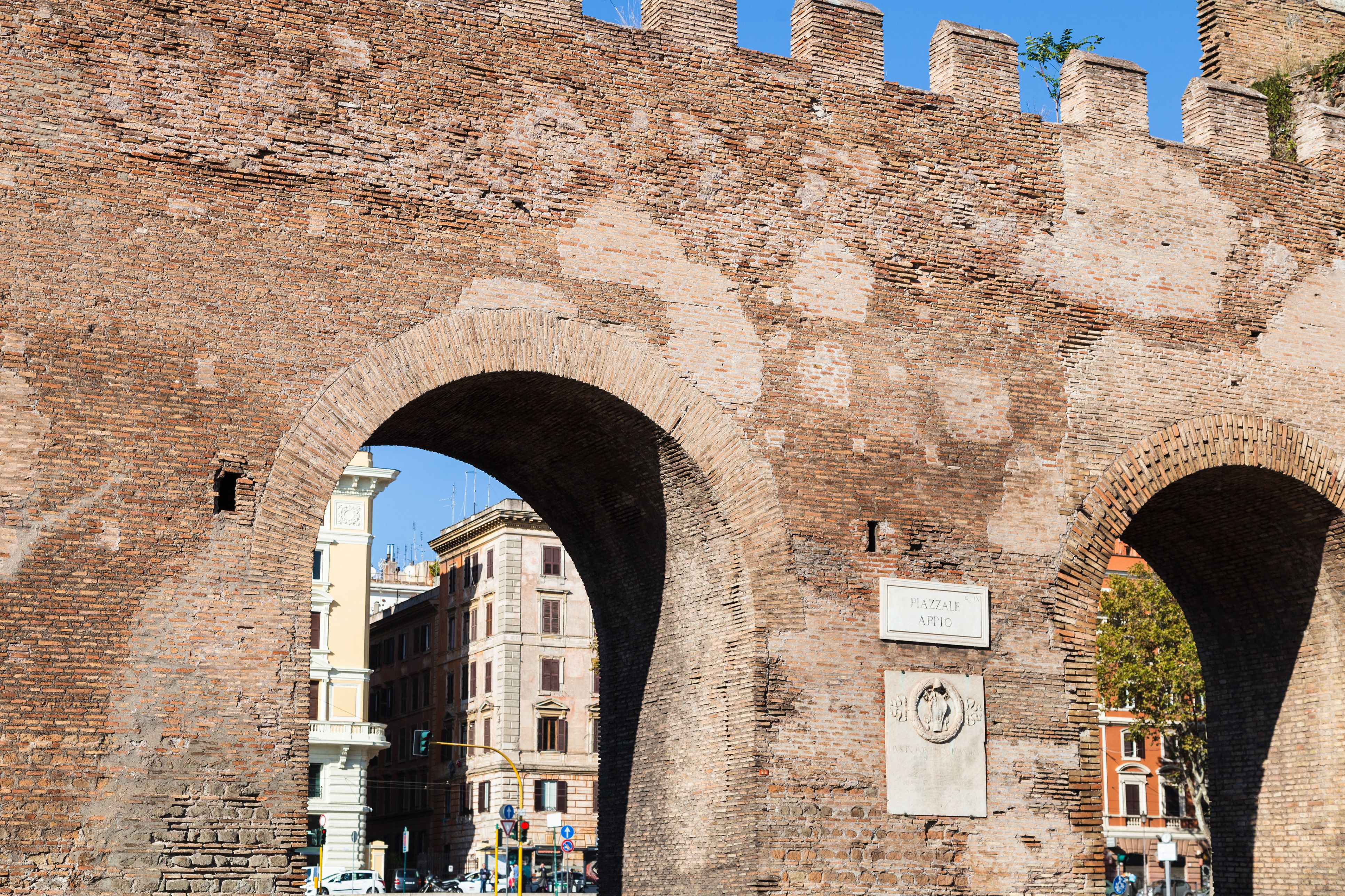 gate in ancient city Aurelian Wall in Rome