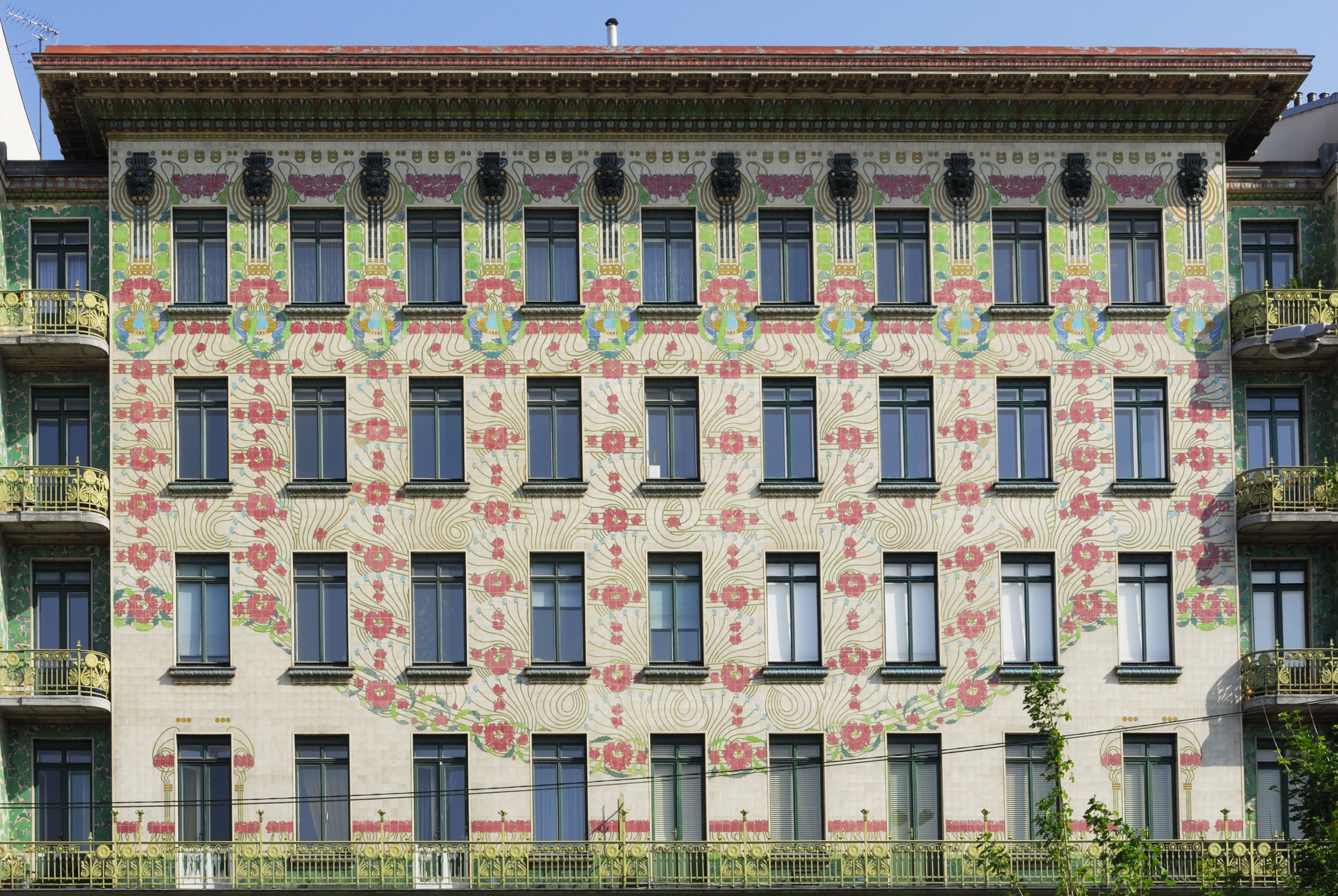 Four-story Majolika Haus with ceramic flowered facade designed by Otto  Wagner, Vienna,