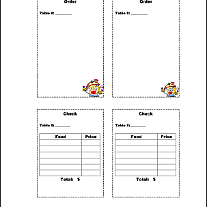 Let S Play Restaurant Order Sheets And Checks