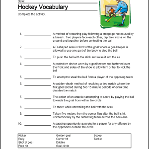 Hockey Wordsearch Vocabulary Crossword And More