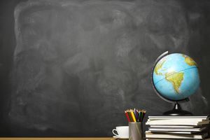 classroom chalkboard and globe