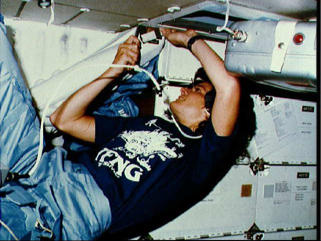 Sally Ride - Inflight View STS-7 - Wearing TFNG Shirt