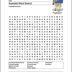 Australia Wordsearch, Crossword Puzzle, and More