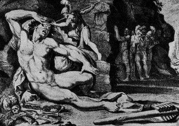 Blinding Polyphemus - Odysseus and his men poke out the eye of the cyclops Polyphemus.