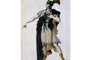 Actor Philippe in role of Romulus, engraving, France, 18th century