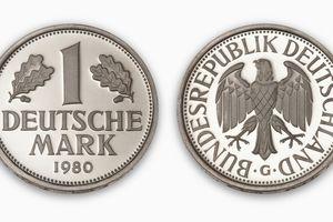 Deutschmark coin, close-up, elevated view