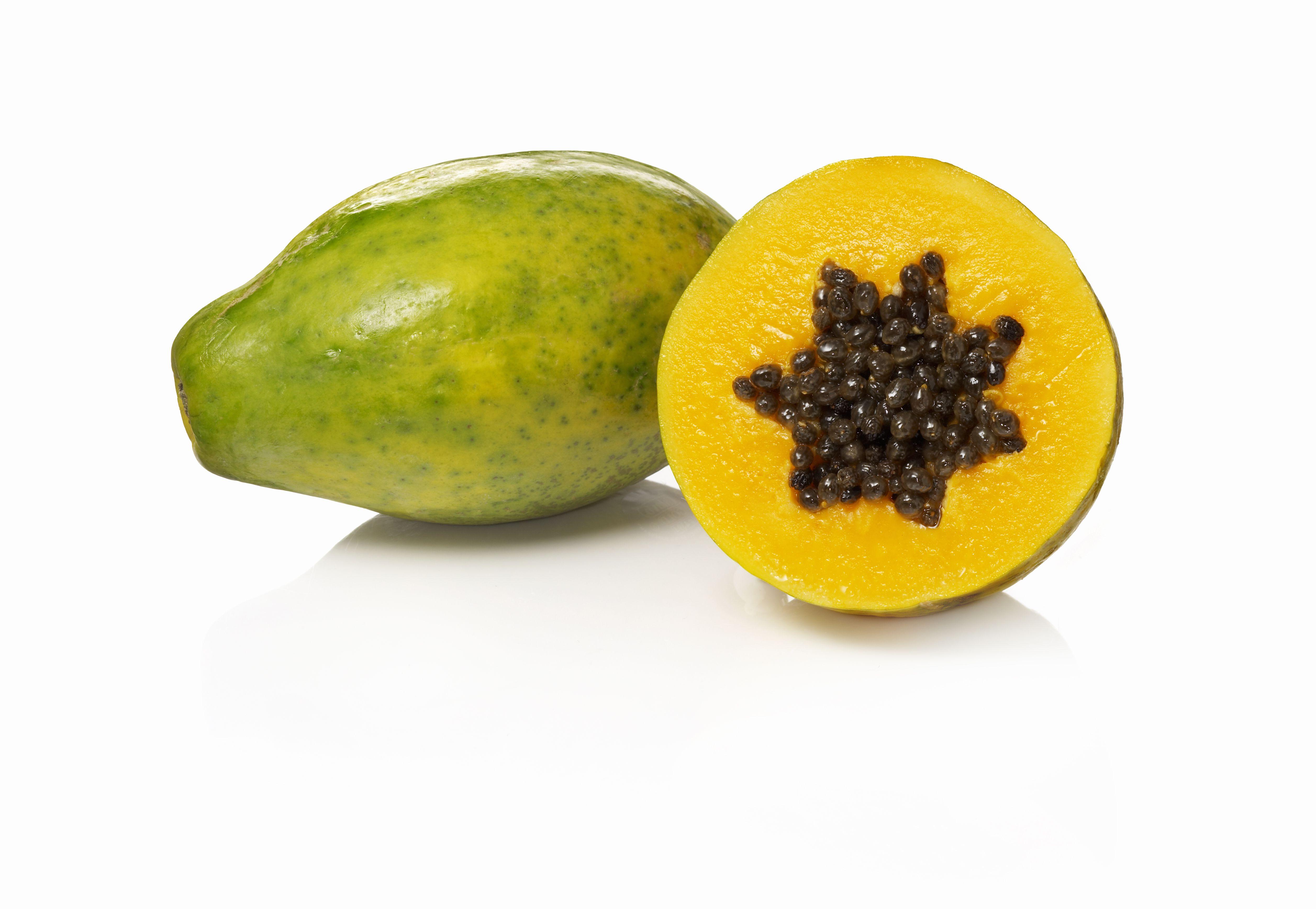 A cut open papaya
