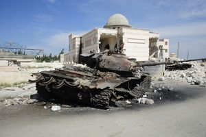 A T-72 Main Battle Tank Destroyed in Azaz, Syria