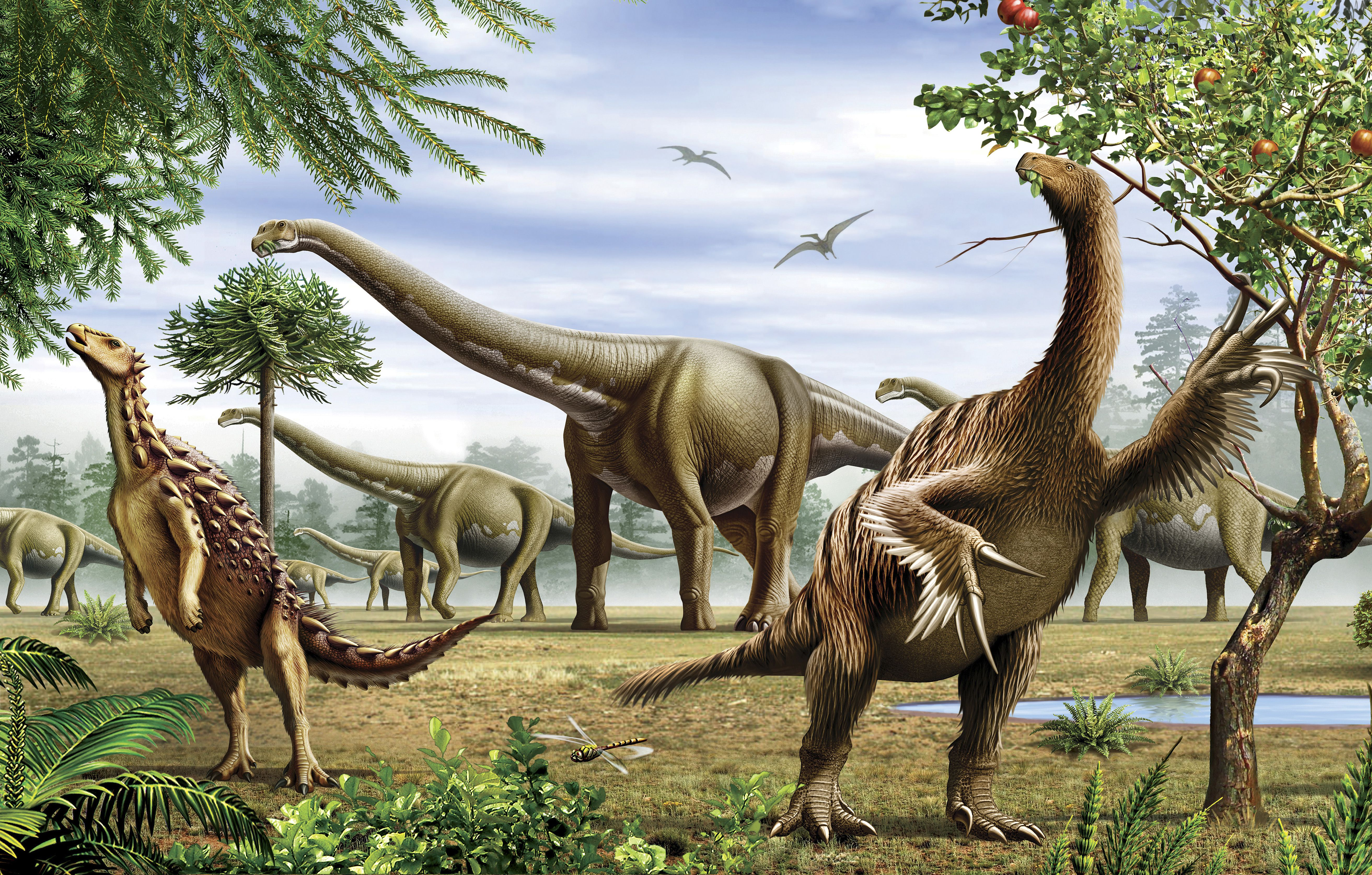 A grouo of Scelidosaurus, Nothronychus and Argentinosaurus dinosarus grazing on trees and leaves.