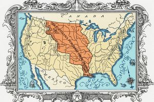 Full color drawing of the Louisiana Purchase map.