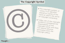 A copyright symbol stamped on a piece of paper, with text reading,