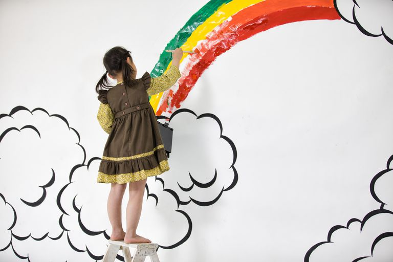 girl draw rainbow on the wall 57d8a2705f9b589b0a361de0
