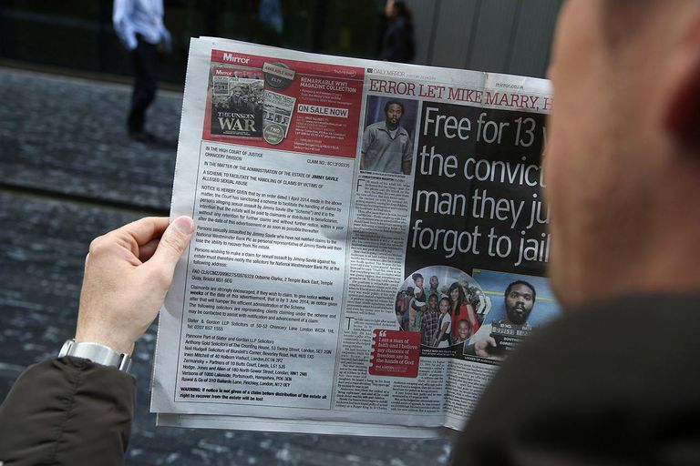 Newspapers Run Jimmy Savile Compensation Advert
