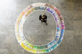 Examining paint swatches
