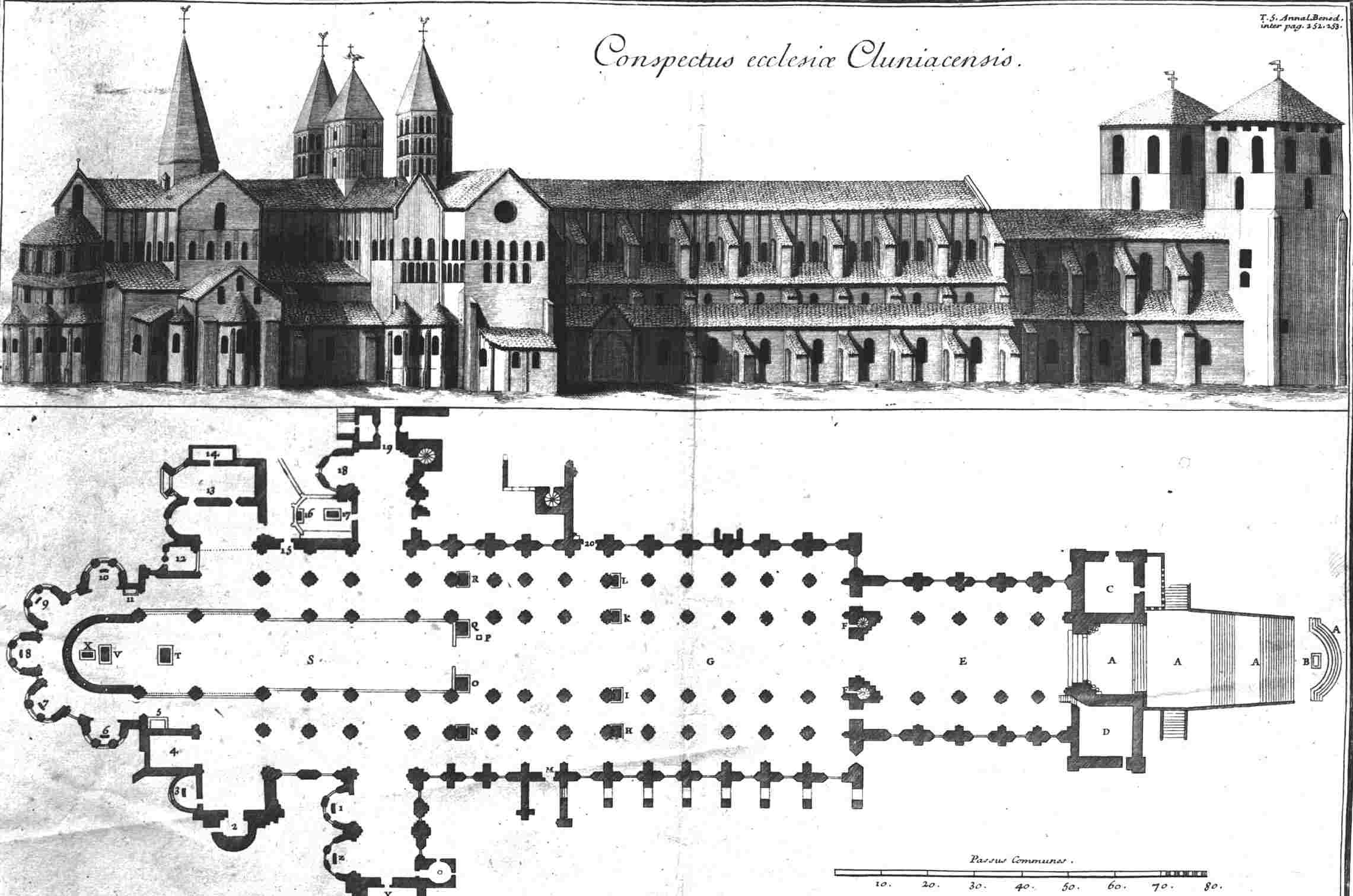 Floor Plan and Elevation Drawing of the Church of the Abbey of Cluny III, Burgundy, France