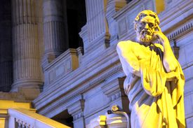 Statue of Lycurgus, lawgiver of Sparta, at the Law Courts of Brussels