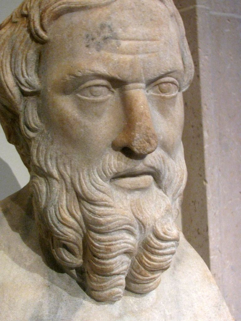 Close up of a bust of Herodotus at the Metropolitan Museum of Art in NYC.