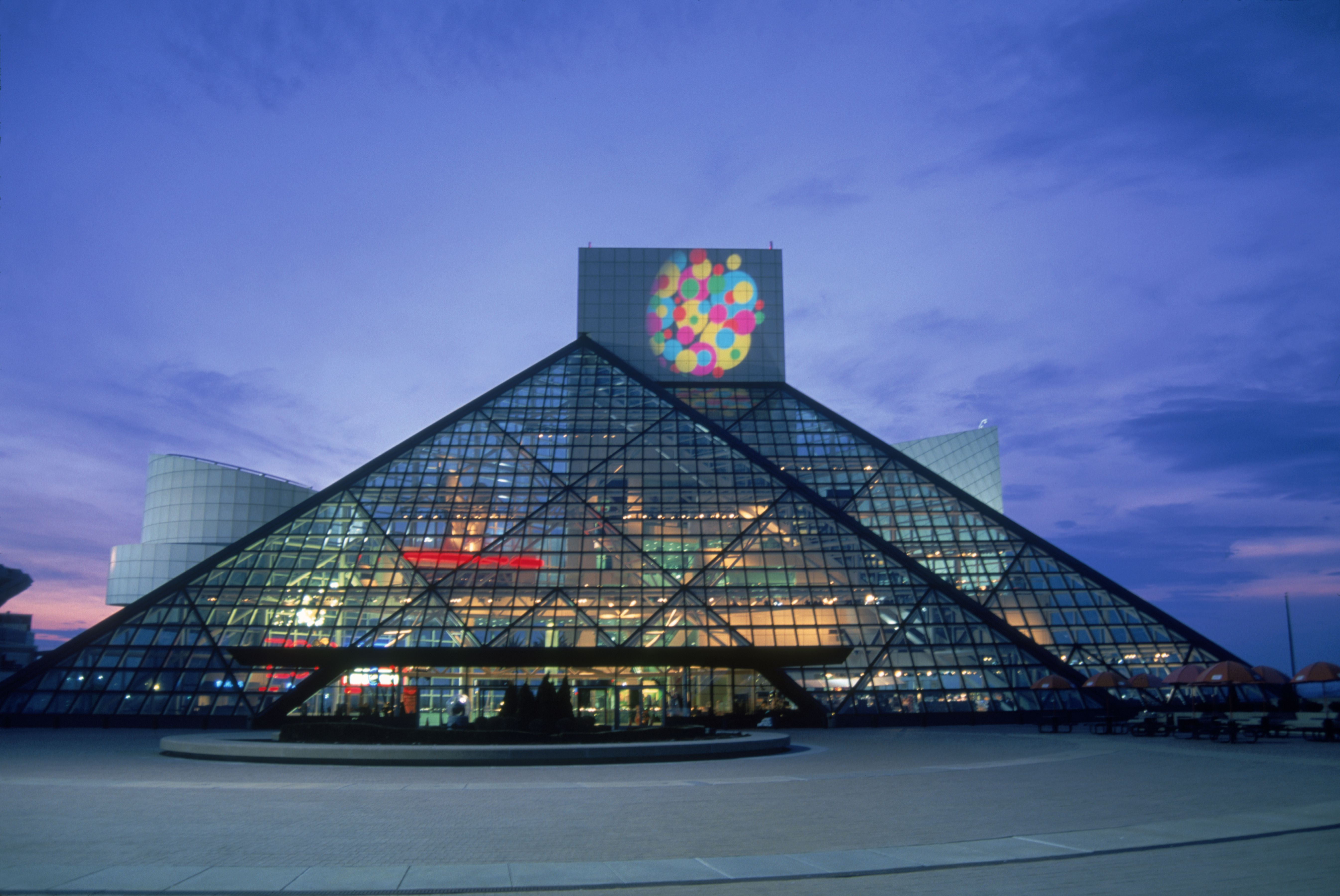Pei-designed glass triangular Rock and Roll Hall of Fame, Cleveland, Ohio