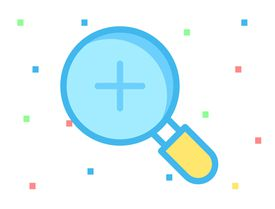 Illustration of magnifying glass with + sign plus sign in it, representing zoom icon