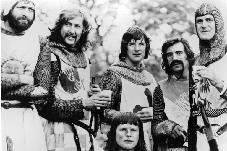 "Black and white photo of the cast of ""Monty Python and the Holy Grail."""