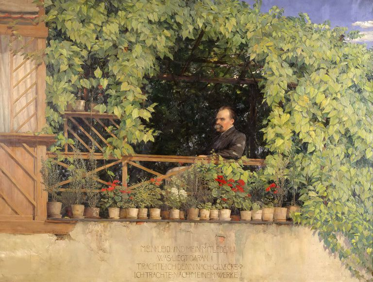 Painting of Friedrich Nietzsche on balcony garden (1844-1900)