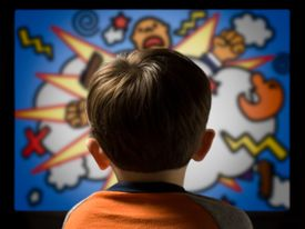 Child From Behind Watching Violent Cartoon on Television