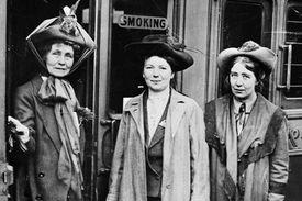 Emmeline, Christabel and Sylvia Pankhurst, Waterloo Station, London, 1911