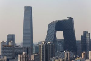 China World Trade Center Tower 3 with China Central TV Headquarters, Beijing, smog
