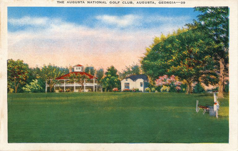 Postcard showing the Augusta National clubhouse, circa 1935