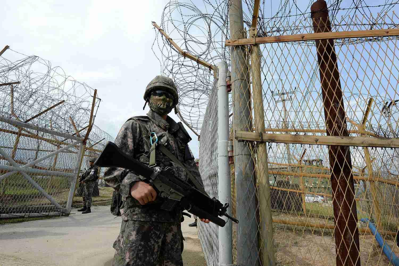 North Korean soldier patrolling the DMZ