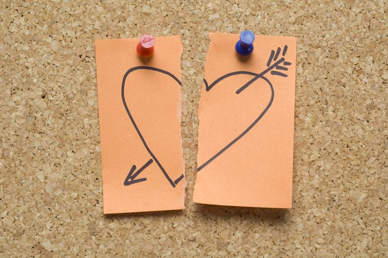 Love lost ripped post-it note with heart