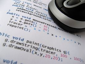 A printed sheet of Java code.