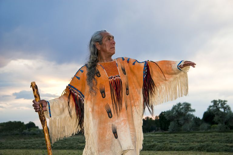 Native American medicine man dressed in ghost shirt, Idaho, USA