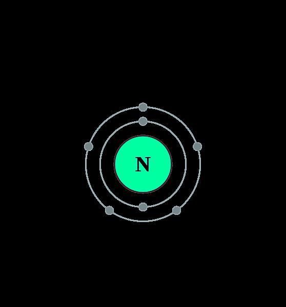 This diagram shows the electron shell of a nitrogen atom.