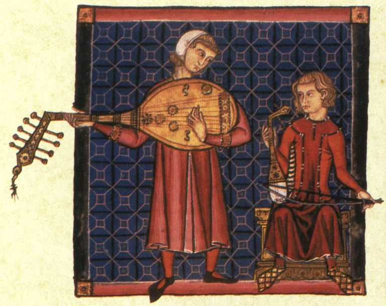 Two minstrels from the codex of the Cantigas de Santa Maria, c. 1280