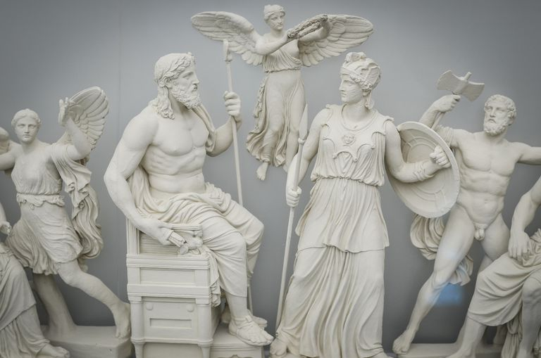 Classical Greek sculptures of gods and goddesses, Athens, Greece.